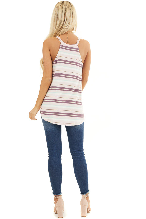 Pale Pink and Mint Striped Knit Tank Top with High Neckline back full body