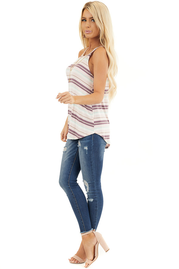 Pale Pink and Mint Striped Knit Tank Top with High Neckline side full body