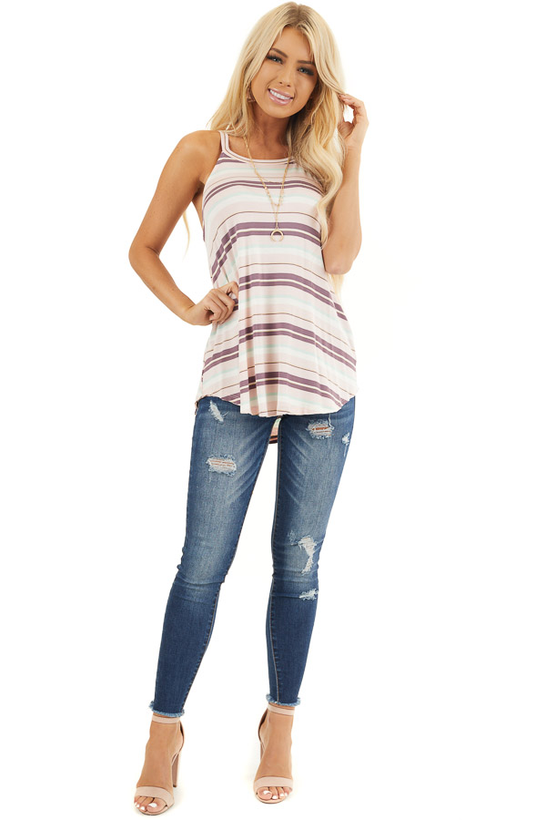 Pale Pink and Mint Striped Knit Tank Top with High Neckline front full body