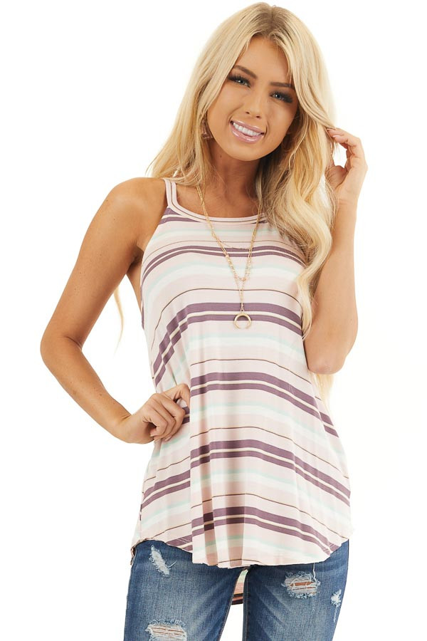 Pale Pink and Mint Striped Knit Tank Top with High Neckline front close up