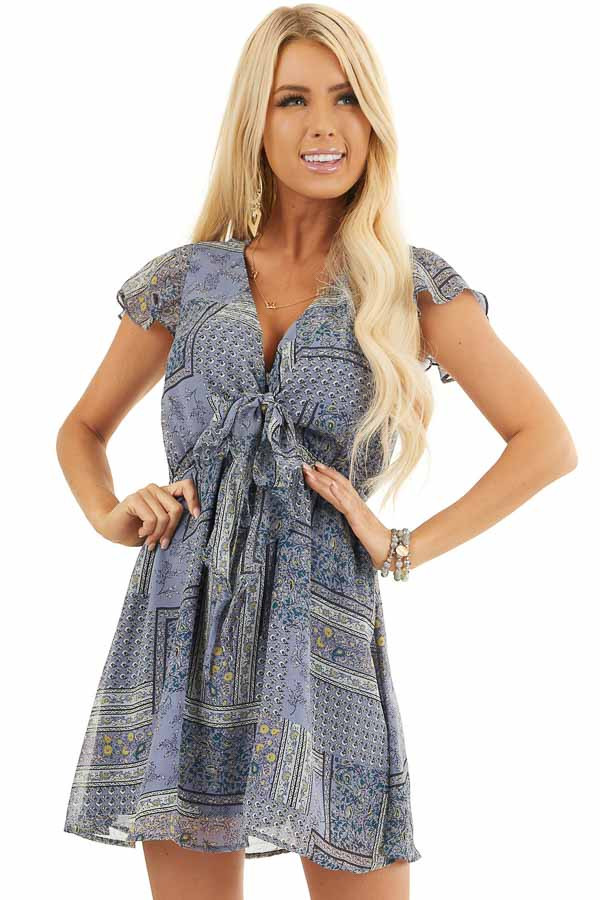 Dusty Blue Patchwork Short Sleeve Dress with Scarf Tie Front front close up