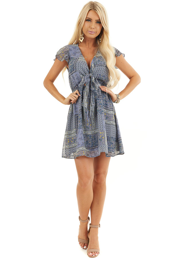 Dusty Blue Patchwork Short Sleeve Dress with Scarf Tie Front front full body