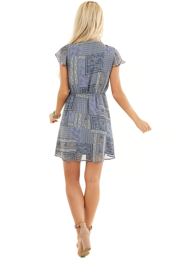 Dusty Blue Patchwork Short Sleeve Dress with Scarf Tie Front back full body