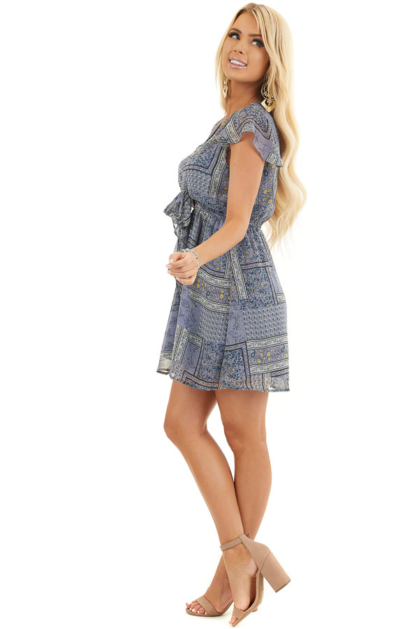 Dusty Blue Patchwork Short Sleeve Dress with Scarf Tie Front side full body