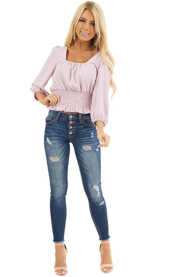 Light Lavender Blouse with Smocked Detail and 3/4 Sleeves front full body