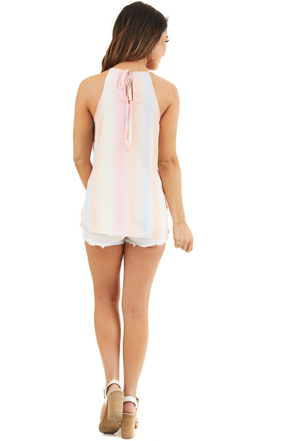 Baby Pink and Peach Tie Dye Tank Top with High Neckline back full body