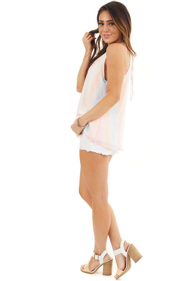 Baby Pink and Peach Tie Dye Tank Top with High Neckline side full body