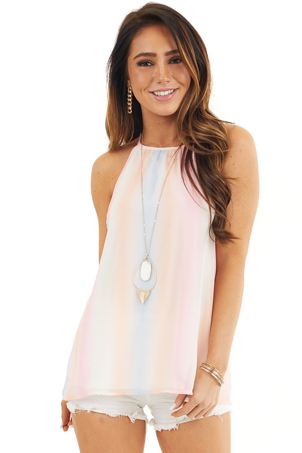 Baby Pink and Peach Tie Dye Tank Top with High Neckline front close up