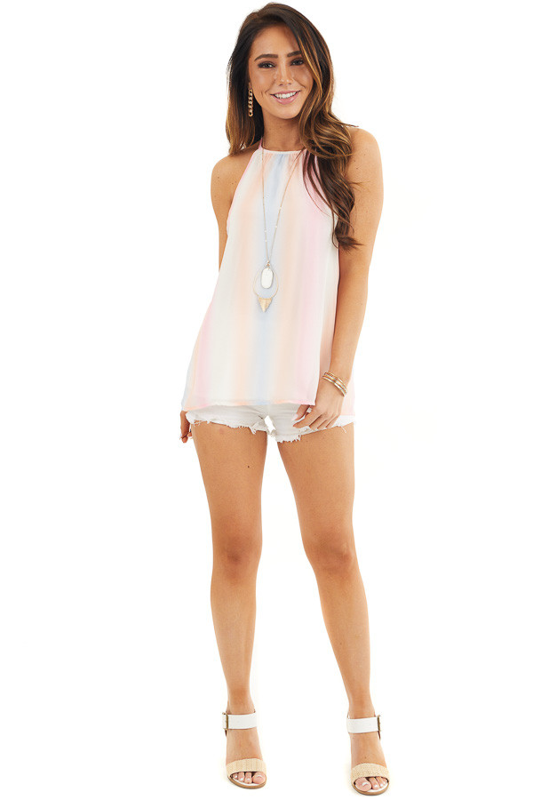 Baby Pink and Peach Tie Dye Tank Top with High Neckline front full body