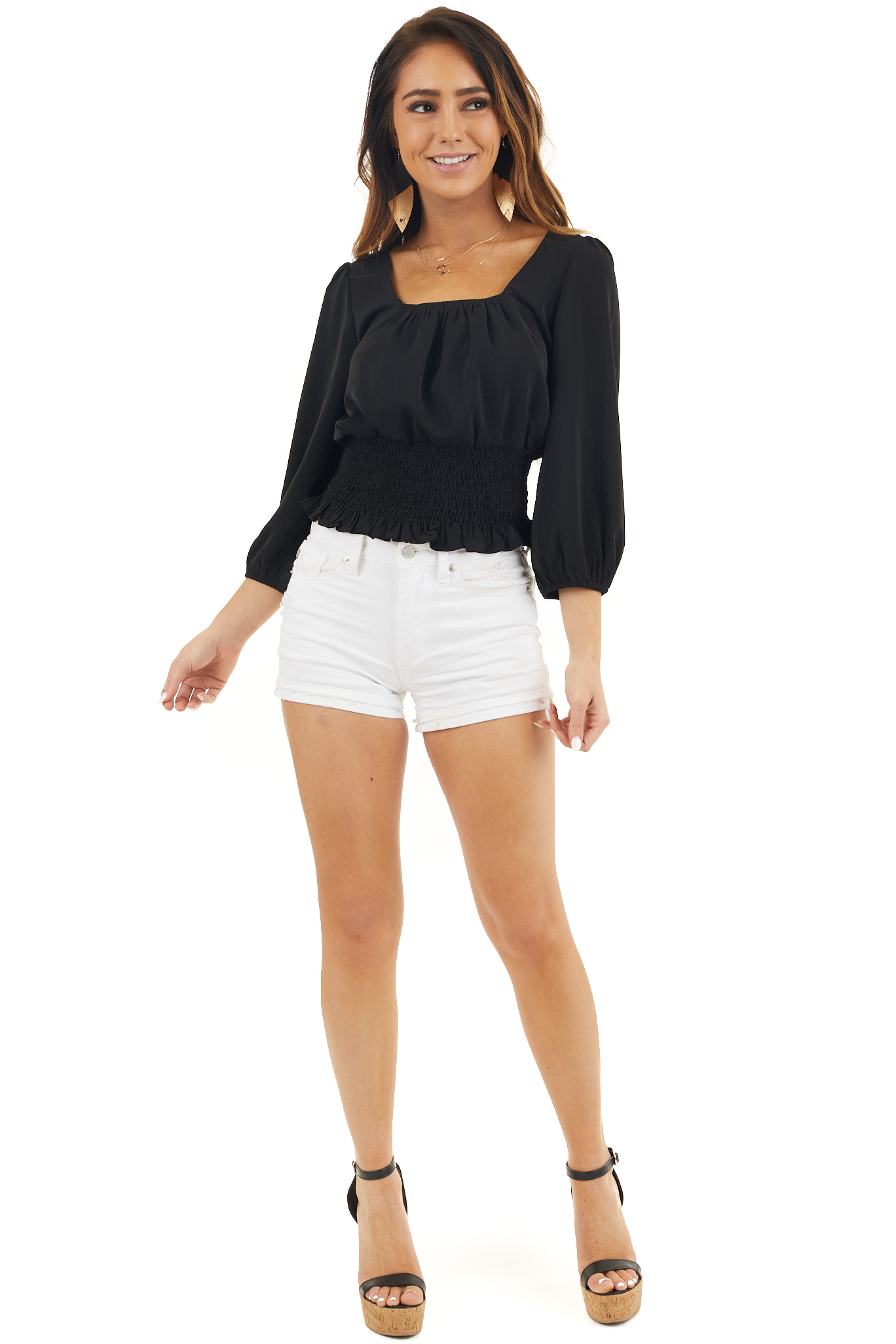Black Blouse with Smocked Detail and 3/4 Sleeves