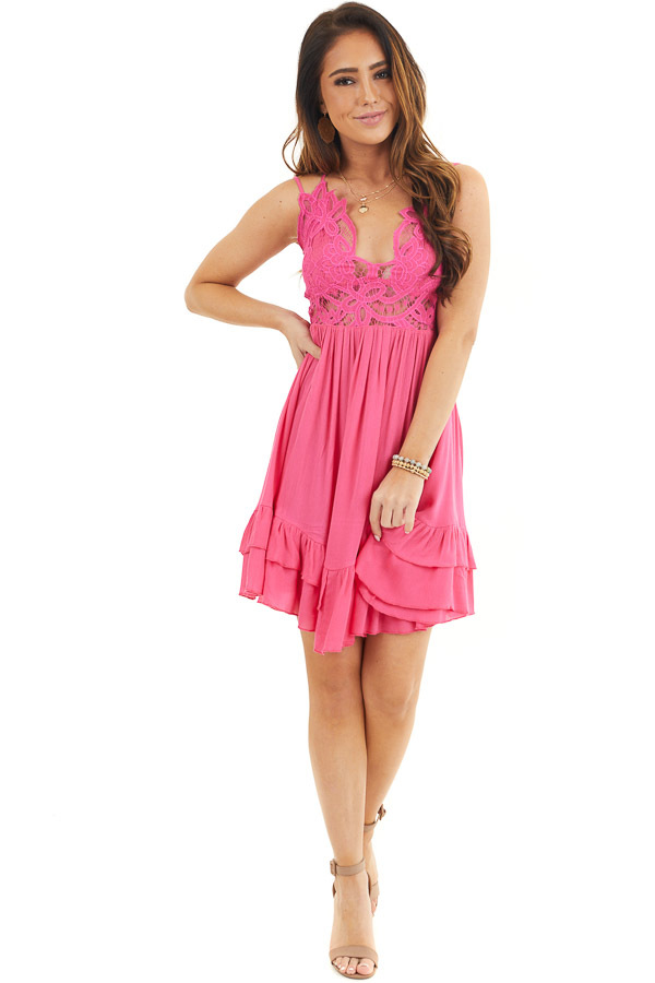 Hot Pink Sleeveless Lace Dress with Ruffle Details front full body