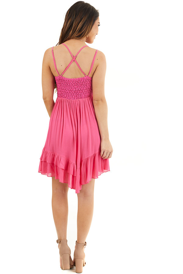 Hot Pink Sleeveless Lace Dress with Ruffle Details back full body