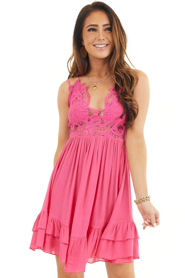 Hot Pink Sleeveless Lace Dress with Ruffle Details front close up