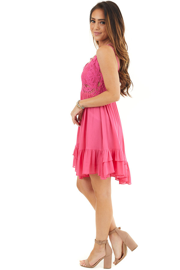 Hot Pink Sleeveless Lace Dress with Ruffle Details side full body