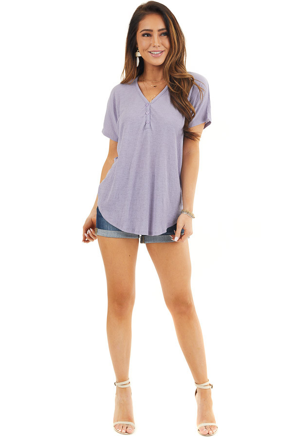 Lavender Short Sleeve Knit Top with Button Down Detail front full body