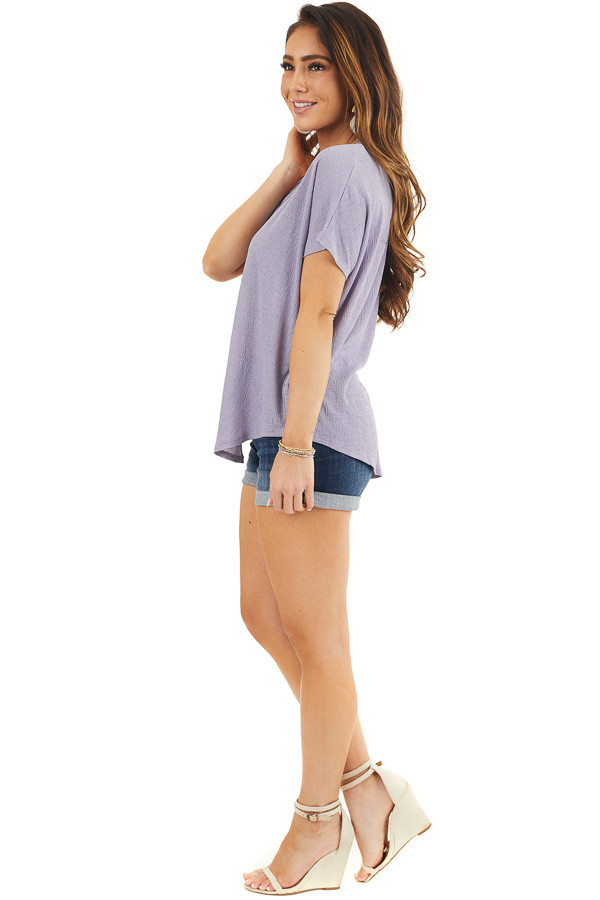 Lavender Short Sleeve Knit Top with Button Down Detail side full body
