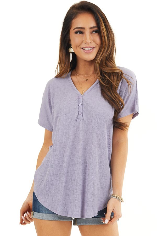 Lavender Short Sleeve Knit Top with Button Down Detail front close up