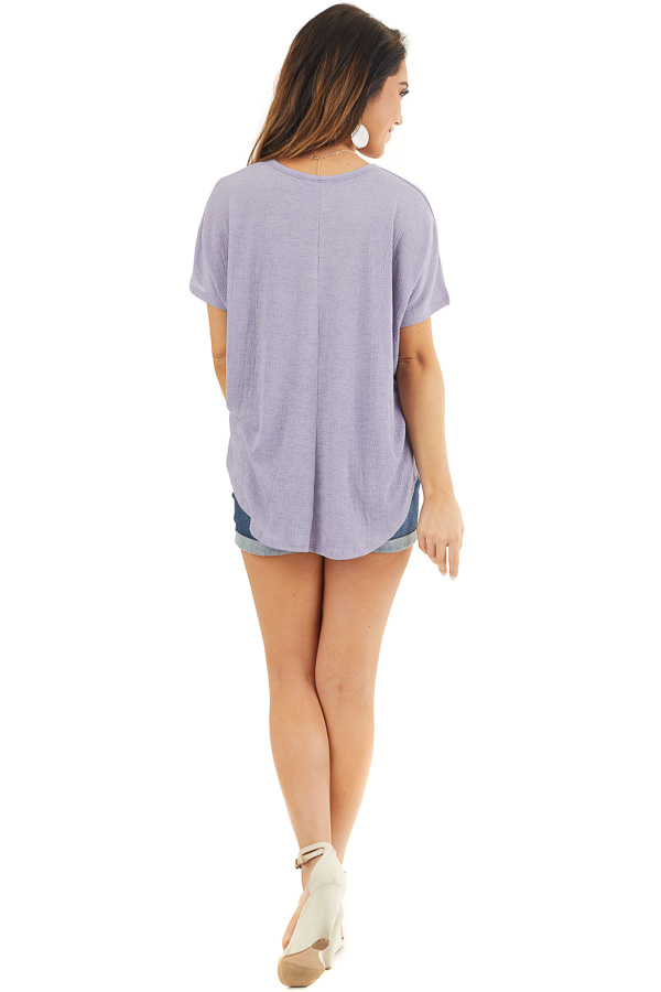 Lavender Short Sleeve Knit Top with Button Down Detail back full body