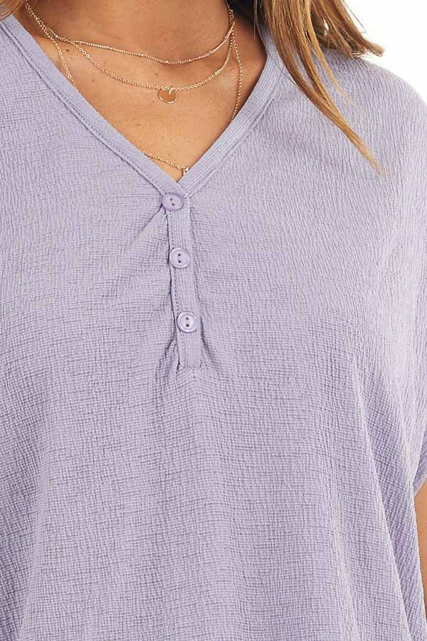 Lavender Short Sleeve Knit Top with Button Down Detail detail
