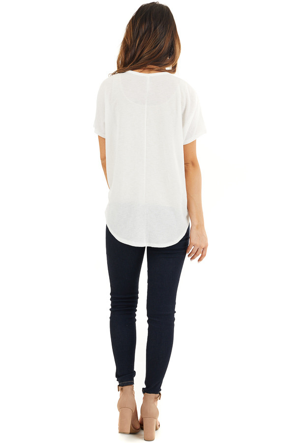 Off White Short Sleeve Knit Top with Button Down Detail back full body