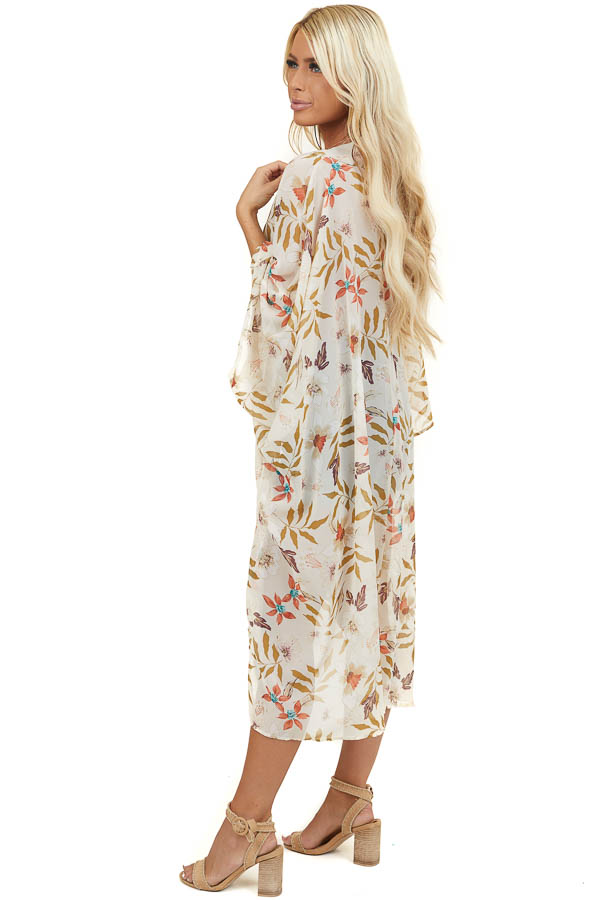 Champagne Short Sleeve Floral Kimono with Side Slits