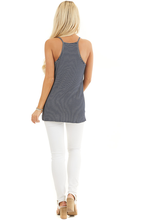 Navy and White Striped Knit Tank Top with V Neckline back full body