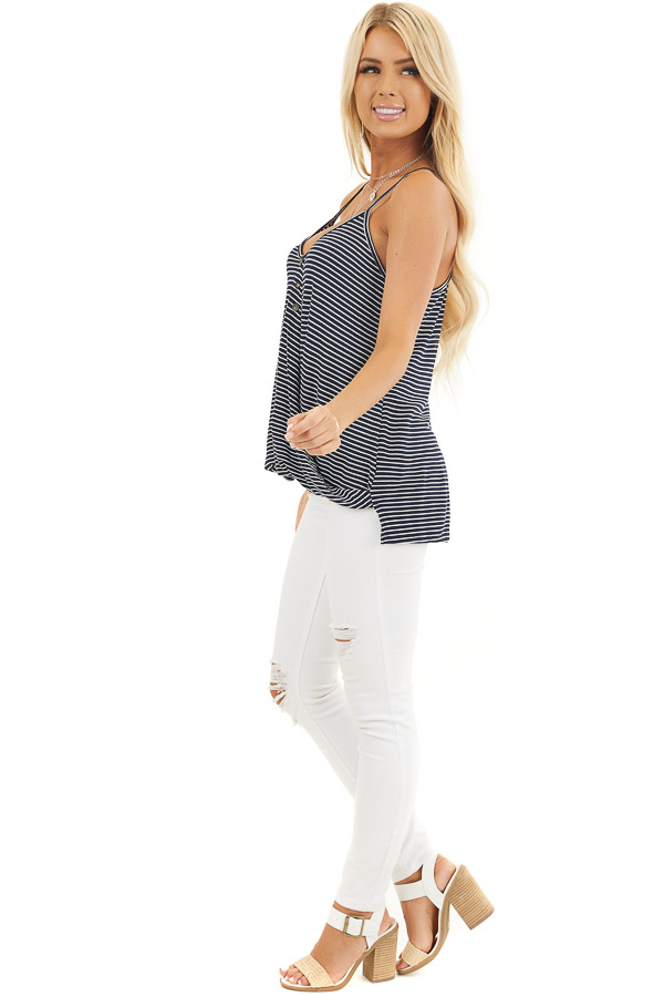 Navy and White Striped Knit Tank Top with V Neckline side full body