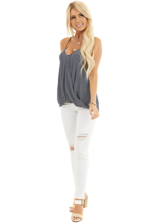 Navy and White Striped Knit Tank Top with V Neckline front full body