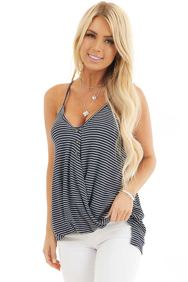 Navy and White Striped Knit Tank Top with V Neckline front close up