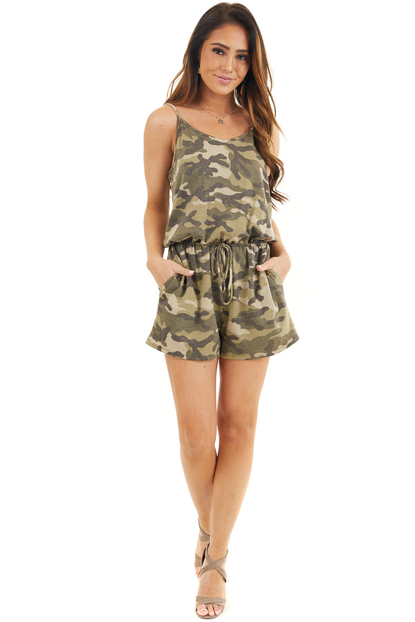 Sage and Charcoal Camo Print Sleeveless Romper with Pockets front full body
