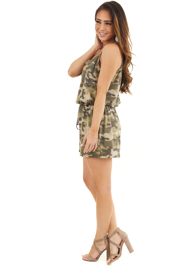 Sage and Charcoal Camo Print Sleeveless Romper with Pockets side full body