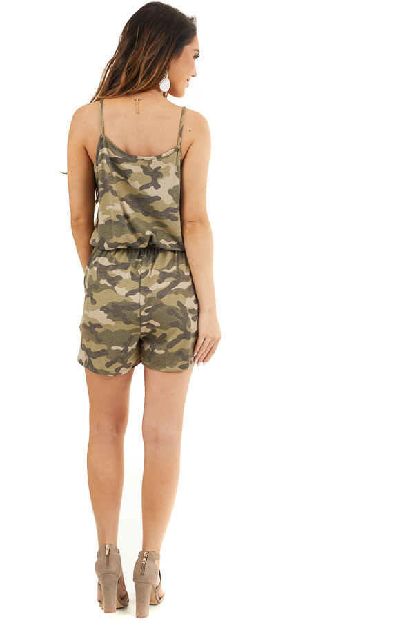 Sage and Charcoal Camo Print Sleeveless Romper with Pockets back full body