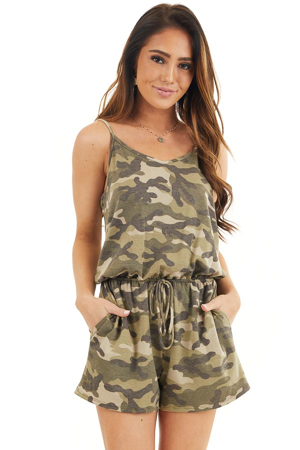 Sage and Charcoal Camo Print Sleeveless Romper with Pockets front close up