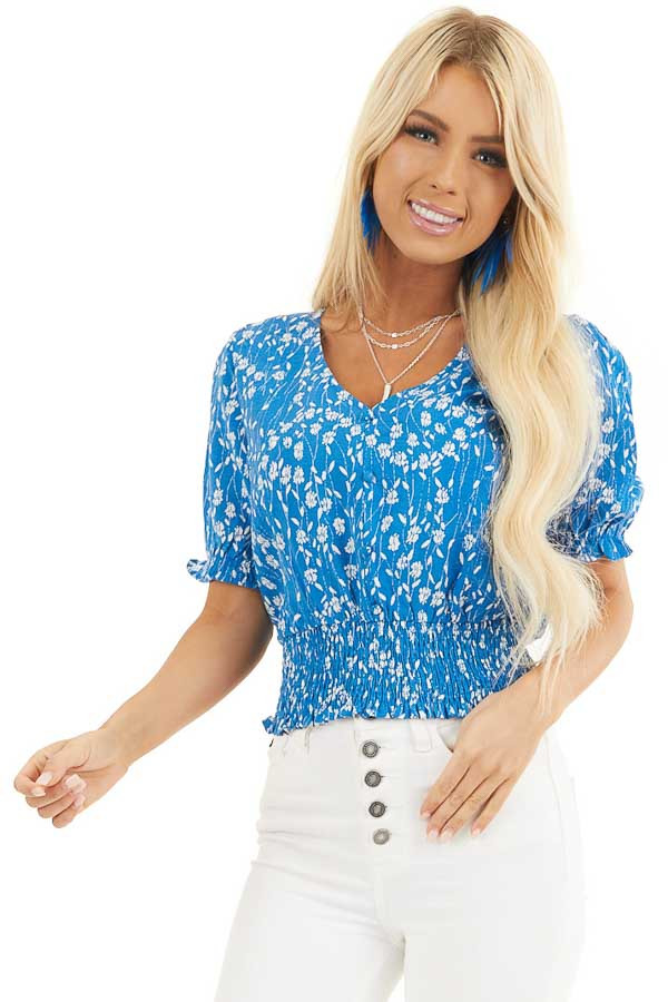 Blue Floral Print Top with Button Details and Smocked Waist front close up