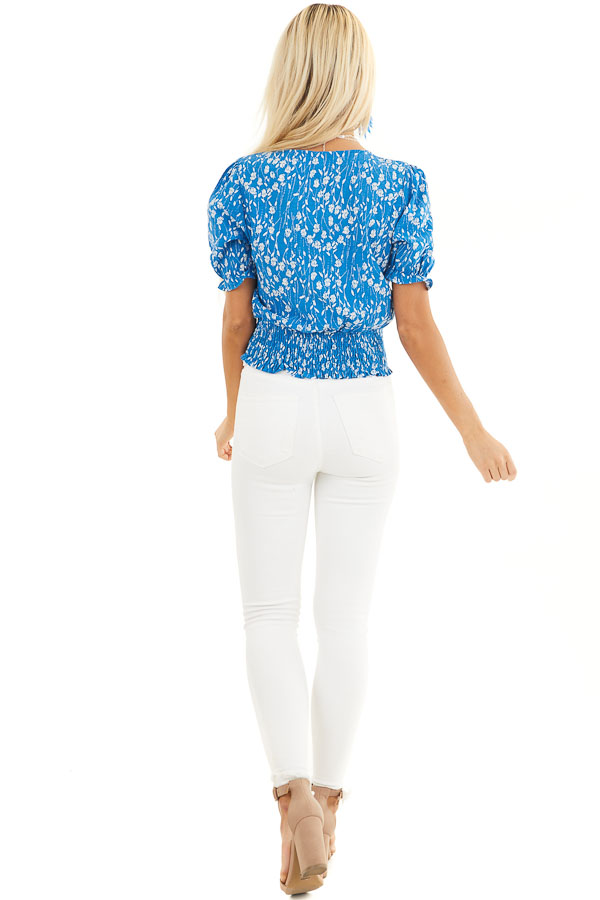 Blue Floral Print Top with Button Details and Smocked Waist back full body