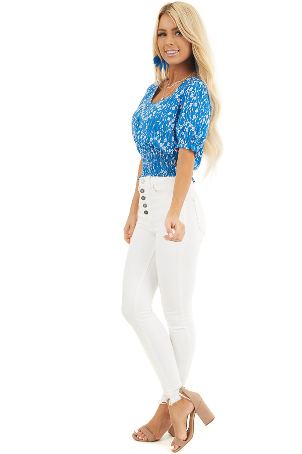 Blue Floral Print Top with Button Details and Smocked Waist side full body