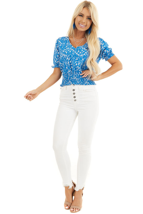 Blue Floral Print Top with Button Details and Smocked Waist front full body