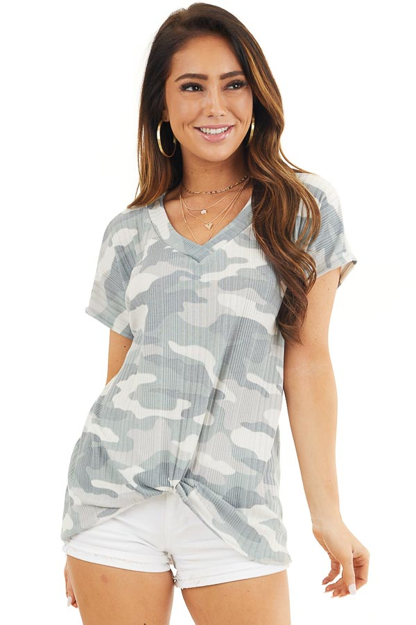 Sage and Silver Camo Ribbed Knit Top with Knotted Front front close up