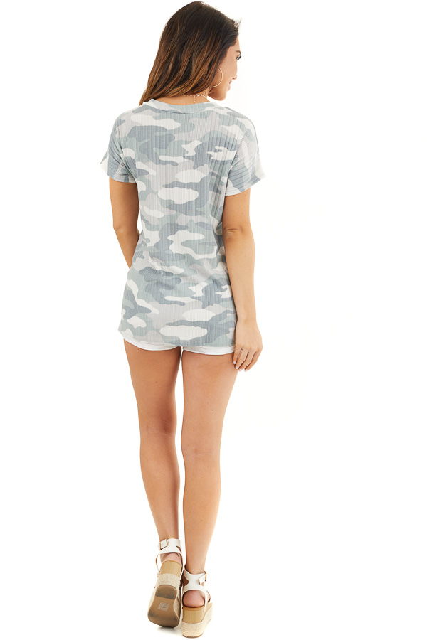 Sage and Silver Camo Ribbed Knit Top with Knotted Front back full body