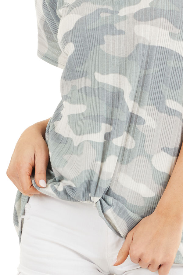 Sage and Silver Camo Ribbed Knit Top with Knotted Front detail