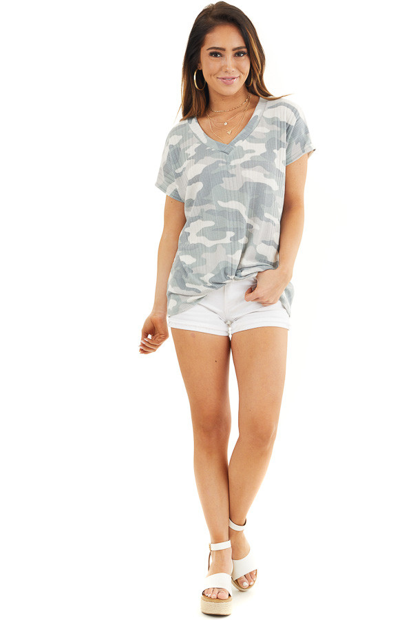Sage and Silver Camo Ribbed Knit Top with Knotted Front front full body