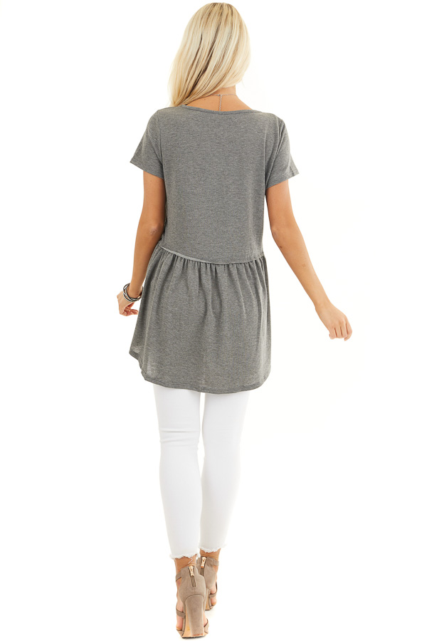 Charcoal Short Sleeve Knit Top with Tiered Hemline back full body