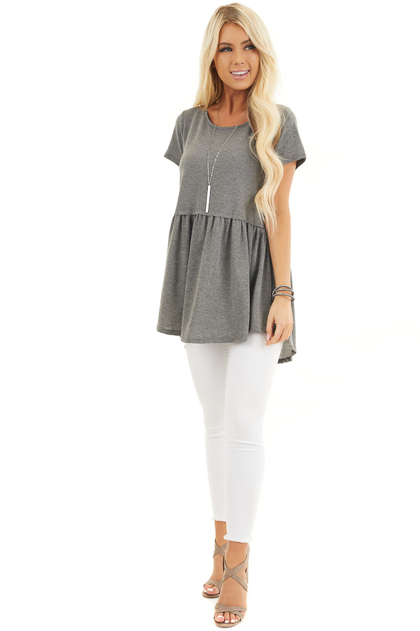 Charcoal Short Sleeve Knit Top with Tiered Hemline front full body