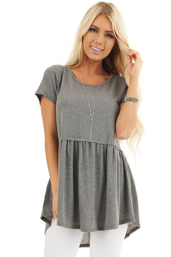 Charcoal Short Sleeve Knit Top with Tiered Hemline front close up