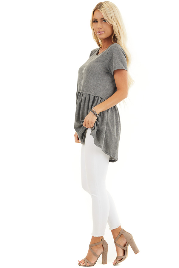 Charcoal Short Sleeve Knit Top with Tiered Hemline side full body