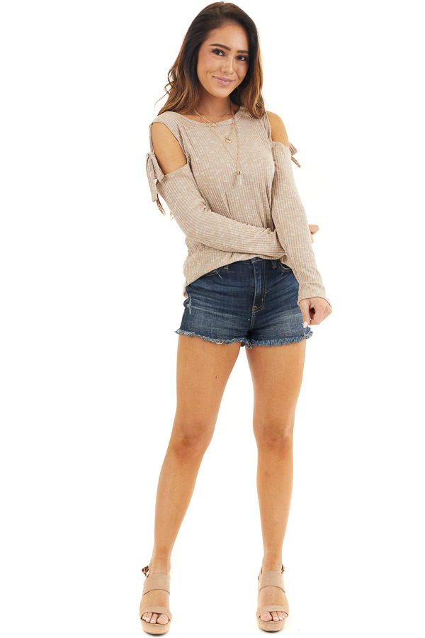 Taupe Two Tone Waffle Knit Top with Tie Cold Shoulders front full body