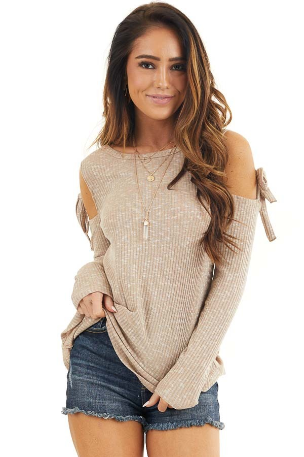 Taupe Two Tone Waffle Knit Top with Tie Cold Shoulders front close up