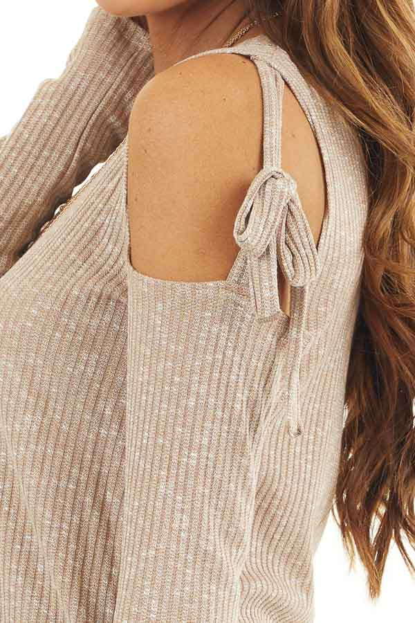 Taupe Two Tone Waffle Knit Top with Tie Cold Shoulders detail
