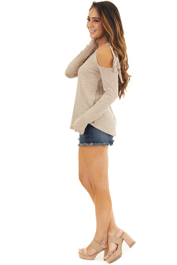 Taupe Two Tone Waffle Knit Top with Tie Cold Shoulders side full body