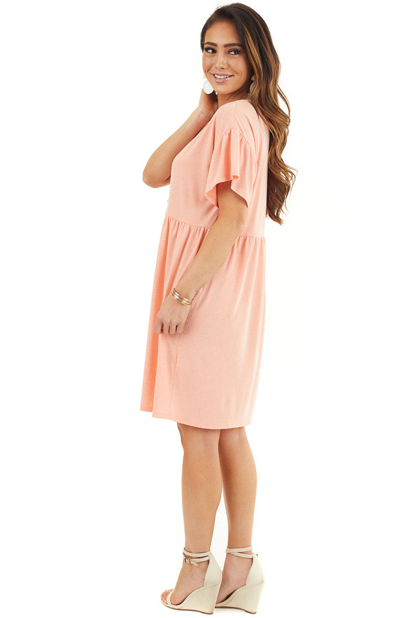 Bright Peach Short Sleeve Short Dress with Tiered Hemline side full body